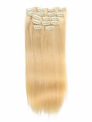 7pcs / set 14-18inch Clip in remy Menschenhaarverlängerungen 75g-85g blonde Haare ombre glattes Haar