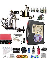 Kit de Tatuagem Completo 2xMáquina Tatuagem de aço para linhas e sombras 2 máquinas de tatuagem Fonte de Alimentação miniTintas enviados