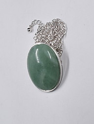 Women's Pendant Necklaces Jewelry Gemstone Gem Resin Alloy Single Strand Dangling Style Natural Personalized Euramerican Light Green