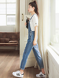 2017 spring new wave of female denim overalls suspenders loose big hole in the pocket of jeans