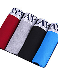 4 Pcs/Lot Men's Fashion Cotton Underwear  Compression Low Waist Boxer Shorts