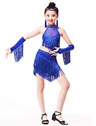 Werden wir Latin Tanz Outfits Kinder Spandex Pailletten mit Ohrringe
