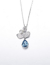 Pendant Necklaces Crystal Pearl Crystal Flower Basic Flower Style Dangling Style Dark Blue Jewelry Daily Casual 1pc