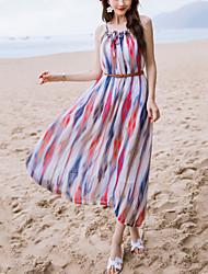 Women's Beach Holiday Boho Strap Strapless Chiffon Dress Print Round Neck Maxi Sleeveless  Blue Summer