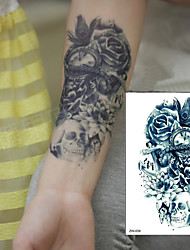 1 pcs TTrendy Temporary Tattoo Flower Rose Clock Jewel Death Pirate Skull Tattoos Stickers For Lower Arm Body Art Men
