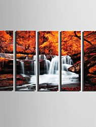 E-HOME Stretched Canvas Art Small Waterfall In Maple Grove Decoration Painting Set Of 5