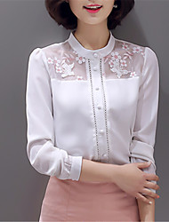 Fashion Crew Neck Long Sleeves Solid Color Chiffon Net Yarn Upper Outer Garment Daily Leisure Party Dating Occupation OL Shirt