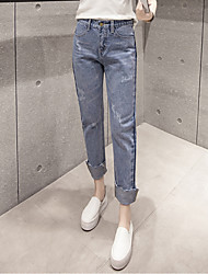 Sign 2017 spring new shadow side waist was thin curling denim trousers