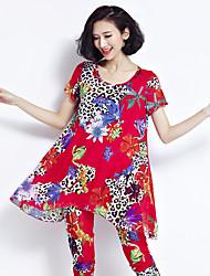 Для женщин На каждый день Для шоппинга Повседневные В помещении Лето Как у футболки Брюки Костюмы Круглый вырез,Классический и
