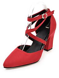 Da donna-Tacchi-Ufficio e lavoro Formale Casual-Club Shoes-Quadrato-Felpato-Nero Verde Rosso Grigio