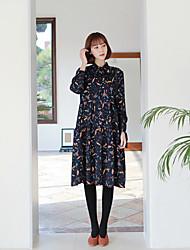Corée 2017 printemps nouveau petit frais rétro lézard lâche impression longue robe