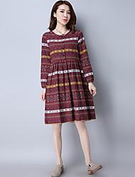 assinar 2017 modelos primavera novas mulheres vestido de impressão nacionais vento solta de manga comprida de algodão