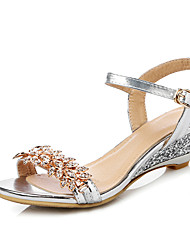 Women's Sandals Spring Summer Club Shoes PU Dress Casual Low Heel Rhinestone Silver Rose Gold