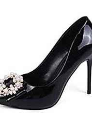 Women's Heels Spring Patent Leather Dress Low Heel Beading White Black Blushing Pink