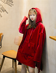 Winter thick velvet stitching design hooded hedging sweater Girls long section of loose Sign