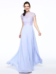 2017 Lanting Bride® Floor-length Chiffon Lace Elegant Bridesmaid Dress - A-line Jewel with Lace Pleats