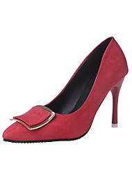 Heels Spring Summer Fall Club Shoes Fleece Outdoor Party & Evening Dress Stiletto Heel Metallic toe Black Green Red Gray Walking