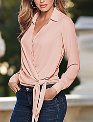 Women's Going out Simple Shirt,Solid Shirt Collar Long Sleeve Cotton