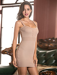 Women's Going out Party/Cocktail Club Sexy Bodycon Sheath Dress,Solid Strap Mini Sleeveless Others Black Brown Gray All Seasons High Rise