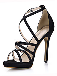 Women's Sandals Summer Comfort Silk Wedding Party & Evening Dress Stiletto Heel Black Ivory