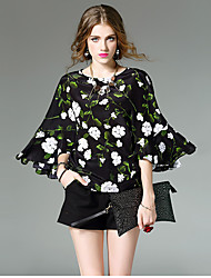 Women's Going out Beach Cute Spring Summer Blouse,Floral Color Block Patchwork Round Neck ½ Length Sleeve White Black Green Silk Thin
