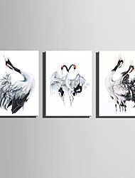 E-HOME Stretched Canvas Art Ink Painting Cranes Decoration Painting One Pcs