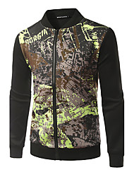 Men's Going out Party/Cocktail Club Punk & Gothic Jacket,Print Stand Long Sleeve Spring Fall Machine wash Cotton Regular