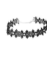 Women's Choker Necklaces Imitation Pearl Pearl Imitation Pearl Lace Flower Fashion Personalized Euramerican Simple Style Black Jewelry