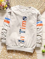 Boy's Going out Casual/Daily Sports Print Patchwork Tee Blouse Cotton Spring Fall Long Sleeve Regular Children's Garments