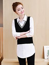 2017 Frühjahr Mode Frauen&# 39; s weißes Hemd + schwarze zweiteilige Weste