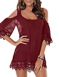 Women's Beach Holiday Sexy Simple Loose DressPatchwork Lace Hollow Out Off-The-Shoulder Strap Above Knee  Length Sleeve Mid Rise Micro-elastic