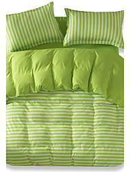 Mingjie Reactive Light Green Stripe Bedding Sets 4 Pcs for Queen Size Contain 1 Duvet Cover 1 Bedsheet 2 Pillowcases from China