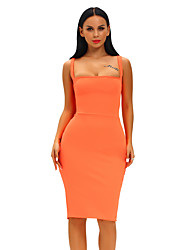 Women's Lace Up Orange Corset-Style Back Lace Up Dress