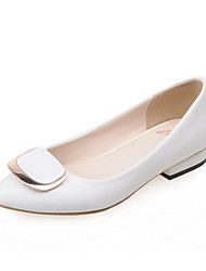 Women's Heels Spring Summer Fall Winter PU Office & Career Dress Party & Evening Low Heel Buckle White Black Red Nude