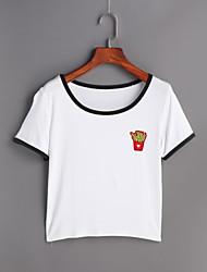 Tee-shirt Femme,Imprimé Décontracté / Quotidien simple Printemps Eté Manches Courtes Col Arrondi Coton