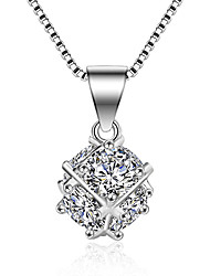 Necklace AAA Cubic Zirconia Pendant Necklaces Jewelry Wedding Party Special Occasion Engagement Square Design