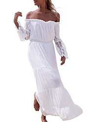 Women's Casual/Daily Formal Sexy Simple Street chic Bodycon Loose Dress,Jacquard Lace Boat Neck Maxi Short Sleeve Flare Sleeve Linen White