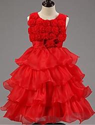 vestido de bola vestido de la muchacha de flor de la rodilla - organza cuello de la joya sin mangas con la flor de ydn