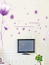 Wall Sticker Violet Magnolia Vinyl Material Home Decoration