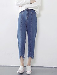 Hitz Korean version of loose trousers straight jeans waist was thin pantyhose