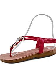 Women's Sandals Spring Summer Fall Comfort PU Tulle Outdoor Dress Casual Flat Heel Wedge Heel Rhinestone Imitation Pearl Black White