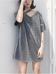 Damen Solide Einfach Lässig/Alltäglich T-shirt,V-Ausschnitt Frühling Sommer Kurzarm Gold Silber Polyester Mittel