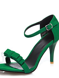 Women's Sandals Summer Club Shoes Velvet Office & Career Dress Casual Stiletto Heel Bowknot Buckle Black Green Purple