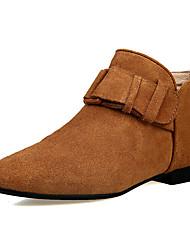 Women's Boots Spring Fall Winter Cowhide Office & Career Dress Casual Low Heel Chunky Heel Block Heel Hook & Loop Black Brown