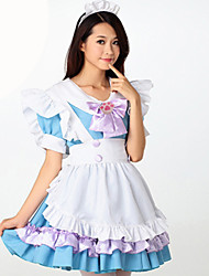 Cosplay Costumes Maid Costumes Festival/Holiday Halloween Costumes Pink Sky Blue Solid Carnival Female Uniform Cloth