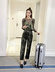 знак алмаз бархат кружево рубашки + подтяжка воланов талии брюки широкой ноги комбинезон брюки