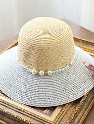Women's Fashion Color Block Straw Hat Sun Hat Beach Cap Folding Bucket Hat Imitation Pearl Casual Holiday Outdoors Summer