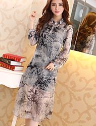 versão coreana 2017 Outono nova vestido de seda de impressão de vestido peça slim