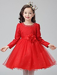 Ball Gown Short / Mini Flower Girl Dress - Organza Long Sleeve Jewel with Crystal Detailing Flower(s)