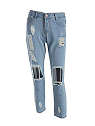 Women's Wide Leg Jeans Pants,Casual/Daily Simple Solid Mid Rise Zipper Polyester Inelastic Spring Summer